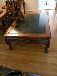 brown wooden framed glass top coffee table Chantilly, 20152