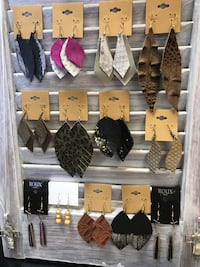 Faux leather earrings.  $10 a piece.  Need something specific, I can make it! Local 974 mi