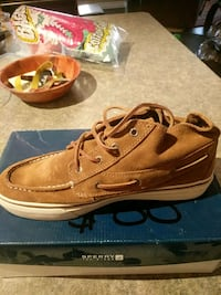 pair of brown leather boat shoes Calgary, T2G 2E4