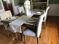 Antique wooden table with Linen chairs Raleigh, 27614