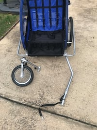 Blue and black double seat jogging stroller/bike trailer combo