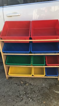 white, blue, and red plastic toy organizer Edmonton, T5L 0V5