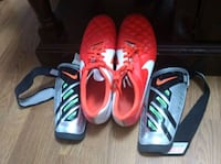 Nike womens size 10.5 soccer cleats & shin guards Cleveland, 37312