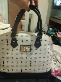 white and black leather tote bag