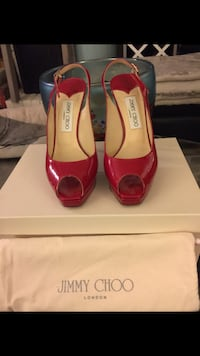 Authentic Jimmy Choo Red Patent Leather Clue Peep-Toe Slingback Sandal Size:37.5 Richmond, V7A 1H2