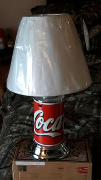 Used Coca Cola Base With White Shade Table Lamp For Sale