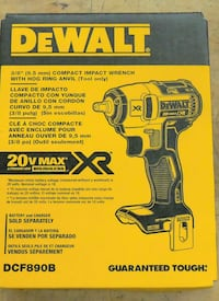 """DeWalt 3/8"""" Compact Impact Wrench 20V Max Li-Ion Brushless XR. new open box. box was open for inspection."""