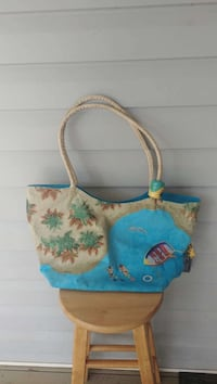 white and blue floral tote bag Loganville, 30052