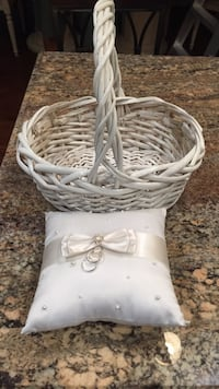 Flower girl white wicker basket and ring bearers pillow Brookhaven, 11786