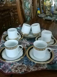 Vintage, gold trimmed coffee set for 6 Laval, H7G 2W7