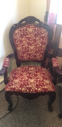 red and black floral padded armchair Dennis Port, 02639