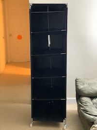Black Movable with wheels cloth cabinet-6 racks 5.5 ft for $15 Falls Church, 22042