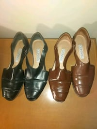 Size 8.5B brown black sandals by Connie flats peep toe shoes Hyattsville, 20784