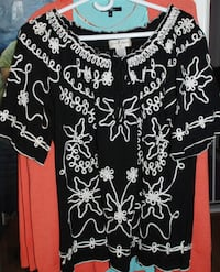 WOMEN - XL - BLOUSE FLORAL BLACK WHITE  Mississauga