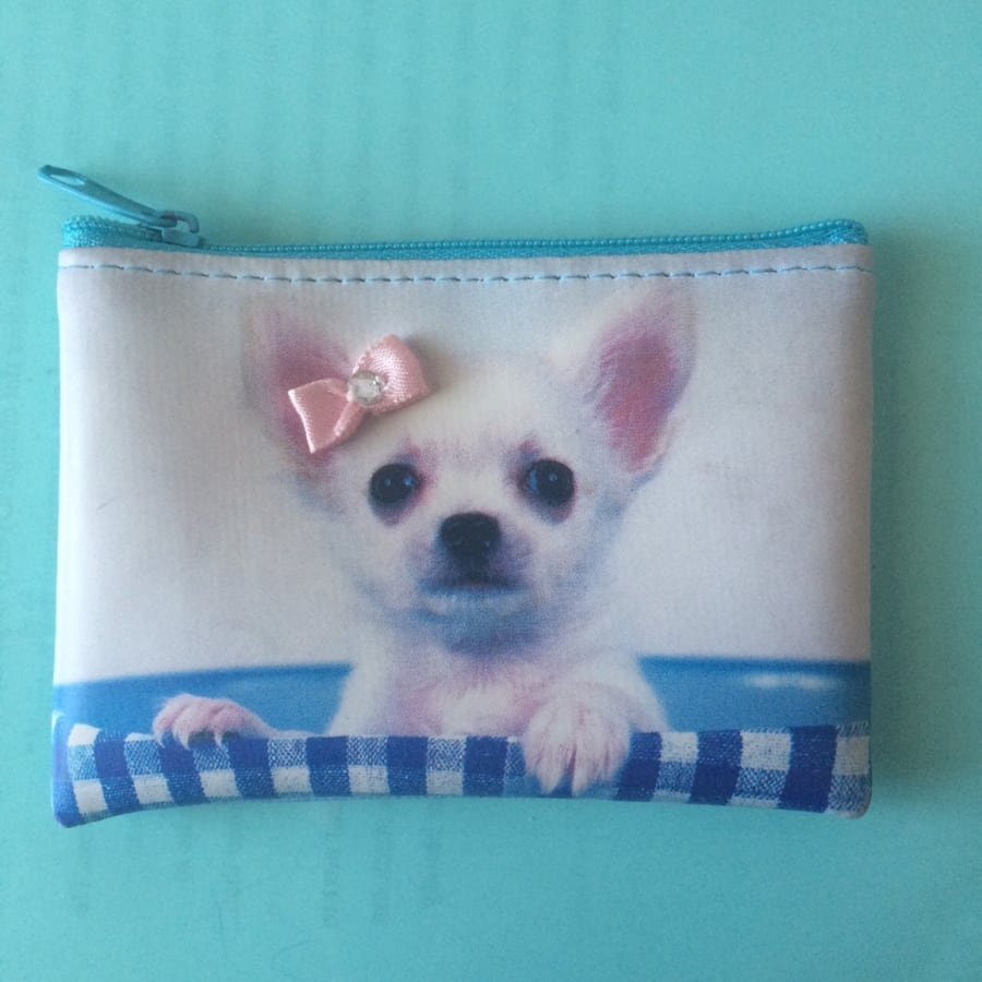 Light Blue Coin Purse with Dog