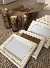 White washed frames and votives with flicker candles  Ashburn