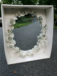 Vintage White Decorative Oval Mirror Fairfax, 22030