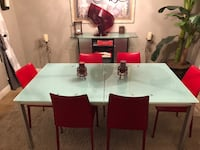rectangular white wooden table with six chairs dining set Las Vegas, 89148