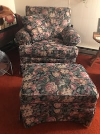 Floral chair with matching hassock.  Wilkes-Barre, 18702
