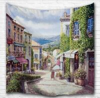 ITALY CITY OIL PAINTING WALL HANGING TAPESTRY NEW Victoria