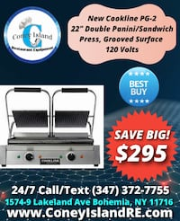 """New Cookline PG-2 22"""" Double Panini / Sandwich Press, Grooved Surface"""