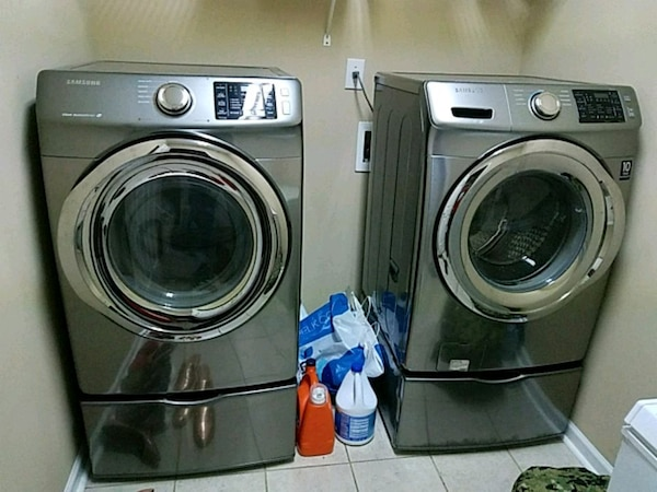 gray front-load washer and dryer set