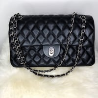 Black Diamond Quilted Double Flap Bag metal strap. OBO Ottawa, K2G 7A2