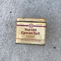Vintage Squibb Epsom Salt Tin Jenks, 74037
