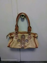 brown and beige floral leather tote bag Marrero, 70072