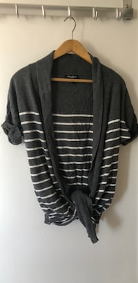 Striped outerwear/ cardigan in grey and white Burnaby, V5A