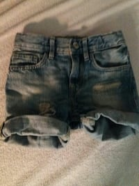 distressed blå mini shorts