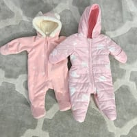 Baby girl pink snowsuits $30 for both  Toronto, M9W 4L6