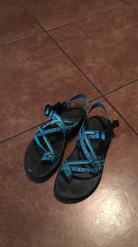 pair of blue trek sandals