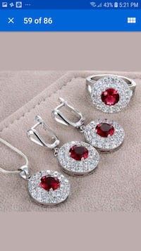 pair of silver and red earrings Mississauga, L5M 7A8