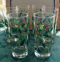 Set of 6 Tall Holly & Berry  Christmas Glasses North Las Vegas, 89032