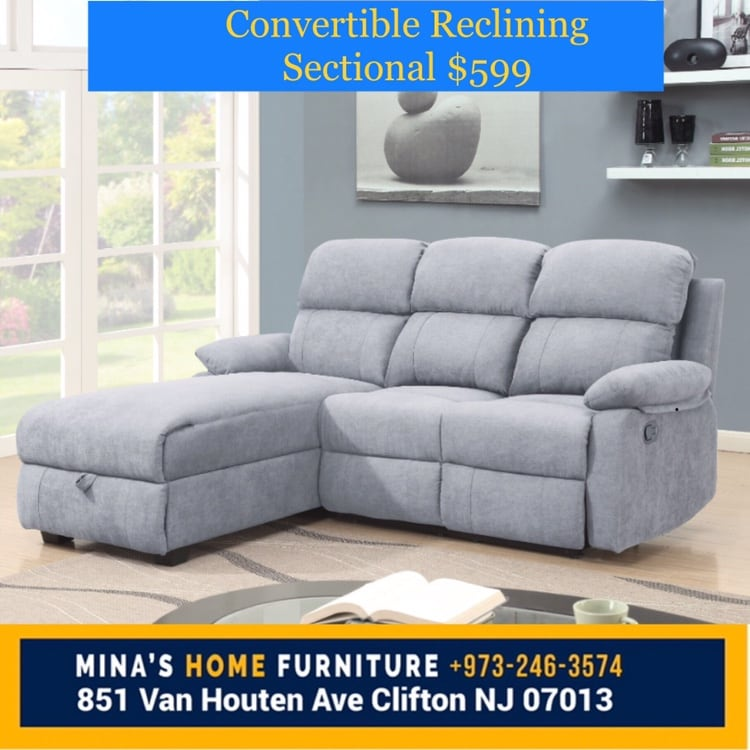 NEW LIGHT GRAY RECLINING SECTIONAL