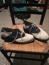 Blue and White Saddle Shoes by Bass
