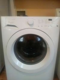 white front-load clothes washer