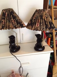 2 Black Cat Lamps with Shades 2051 mi