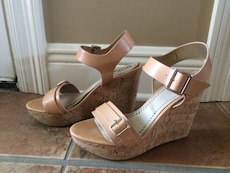 beige and white leather peep toe ankle strap wedge sandals