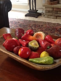 red and green fruits with brown ceramic bowl Monument, 80132