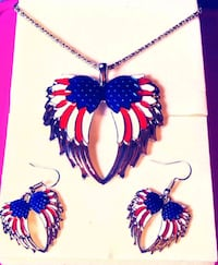 NEW Red white and blue earings and necklace