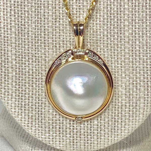 Genuine 14k Gold Blister Pearl Diamond Pendant with 14k Rope Chain fef215bf-6728-4a15-bcb0-acb58b550277