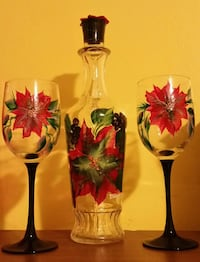 Hand-painted  Poinsettia wine set Toronto, M3A 2J5