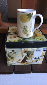 White, yellow, and green floral ceramic mug with box