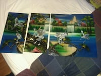 4 piece Oriental picture set Mother of Pearl