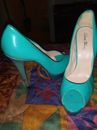 pair of teal leather platform stilettos Birmingham, 35209