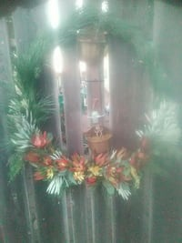 green and red floral wreath
