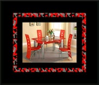 Glass red dining table with leather chairs Rockville, 20847