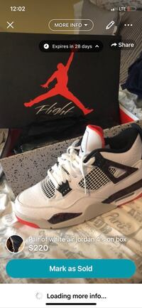 white-and-black Air Jordan 4's Silver Spring, 20904